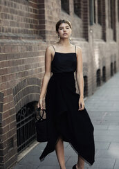 top,tumblr,camisole,black top,skirt,midi skirt,asymmetrical,simon miller bag,bag,black bag