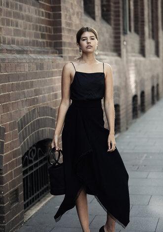 top tumblr camisole black top skirt midi skirt asymmetrical simon miller bag bag black bag