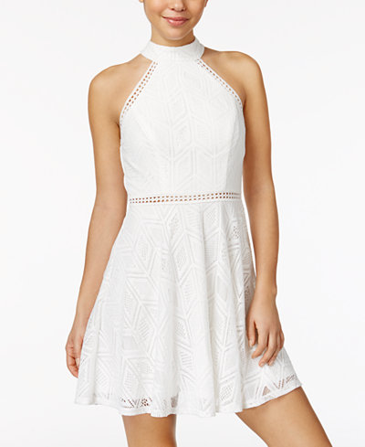 City Studios Juniors' Crochet Halter Dress - Juniors Dresses - Macy's