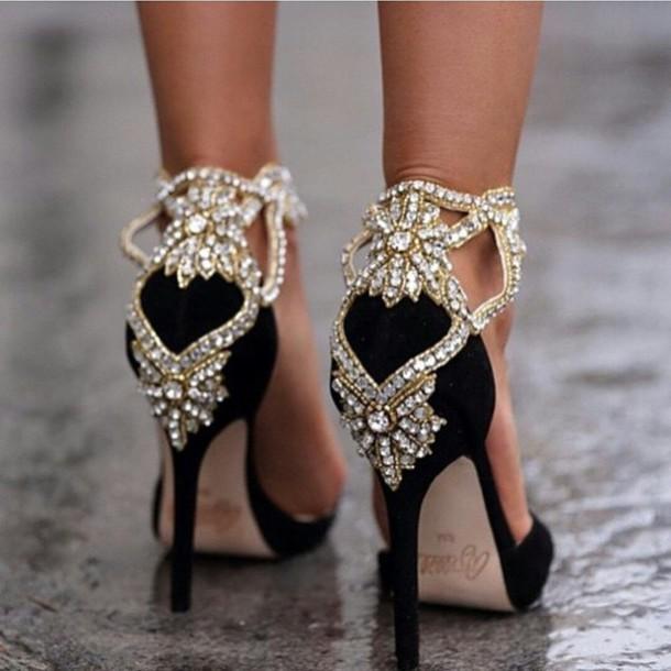 shoes jewels gold black heels gemstone gorgeous