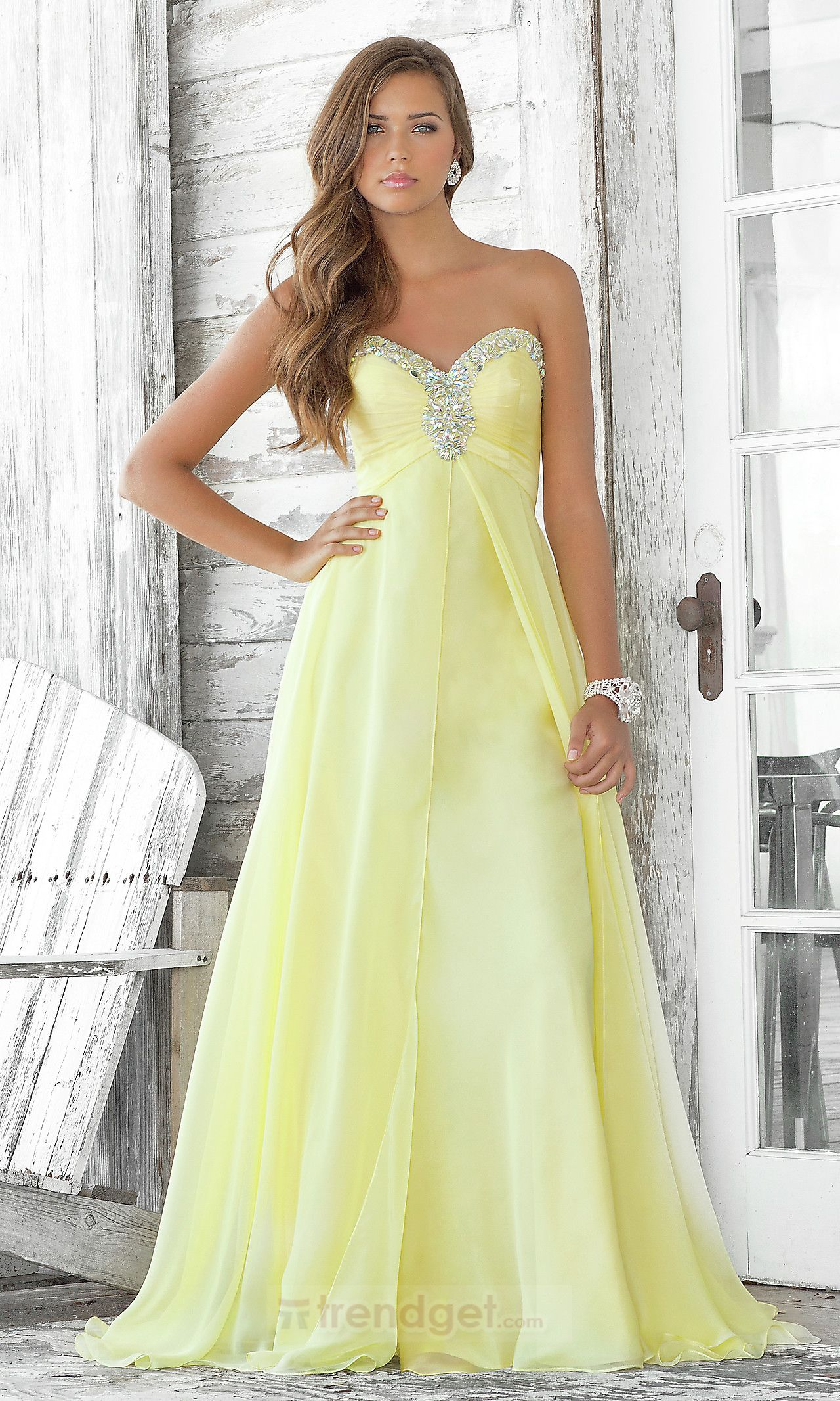 Simply A-line Sweetheart Floor-length Chiffon Colored Military Ball Dresses  - $120.99 - Trendget.com