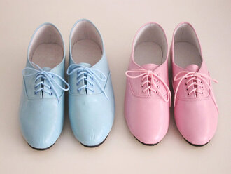 shoes vintage cute blue soft pink pink ^_^ boots pastel baby pink baby blue oxfords pink shoes blue shoes pretty derbies pastel shoes