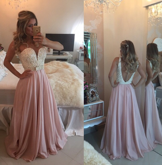 dress prom goals prom dress princess pink skirt dress with back pearls pearl black and white acacia brinley blonde hair tan skin