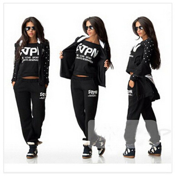 grey black hooded jacket long sleeves pants letter print o neck sportswear 3 piece suit tracksuit pink winter coats