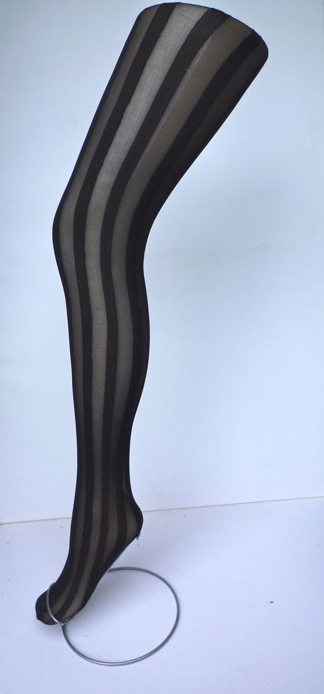 Solid & sheer vertical stripe tight