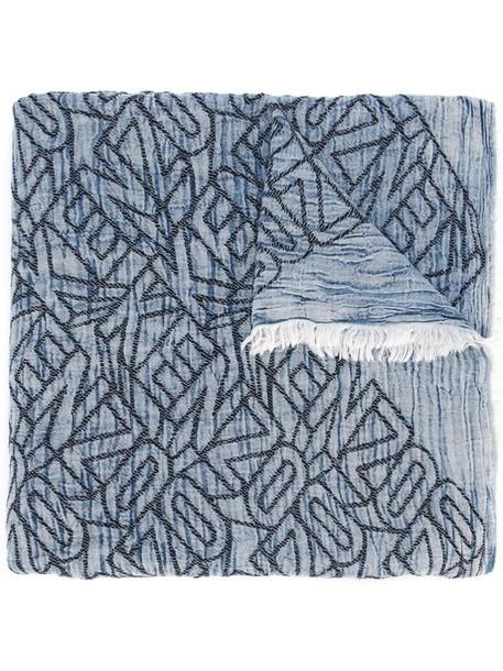 Kenzo women scarf cotton blue wool