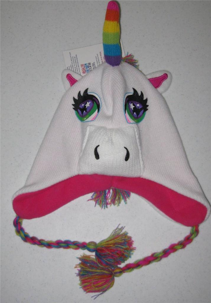 Lisa Frank White Unicorn Rainbow Laplander Hat Beanie Cute | eBay