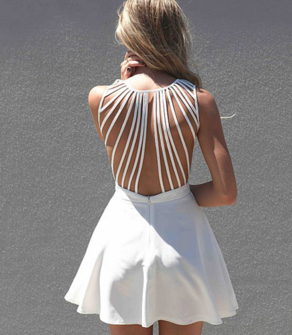 white dress white dress strappy dress strappy low back summer dress mini dress party dress white backless dress with straps backless dress