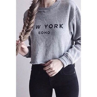 sweater grey grey sweater new york city soho black girl