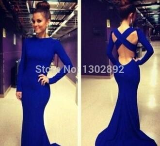 backless dress long dress royal blue dress sheath prom dress o-neck aliexpress.com long sleeve gown