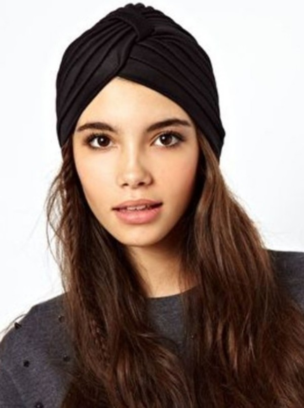hat black turban fashion