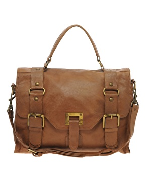 Warehouse | Warehouse Leather Ring Detail Buckle Satchel at ASOS