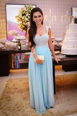 mint evening dress long prom dress prom dress wedding clothes dress