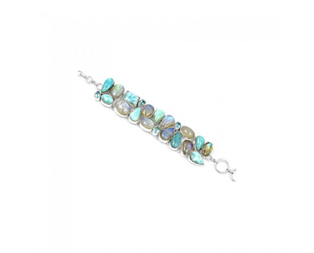 Awesome 925 sterling silver Larimar Rainbow Moonstone And Blue Topaz Gemstone Cluster Bracelet