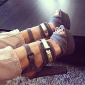 shoes,heels,suede,grey,gold,buckles,sandals,gold buckle,round heel,grey heels