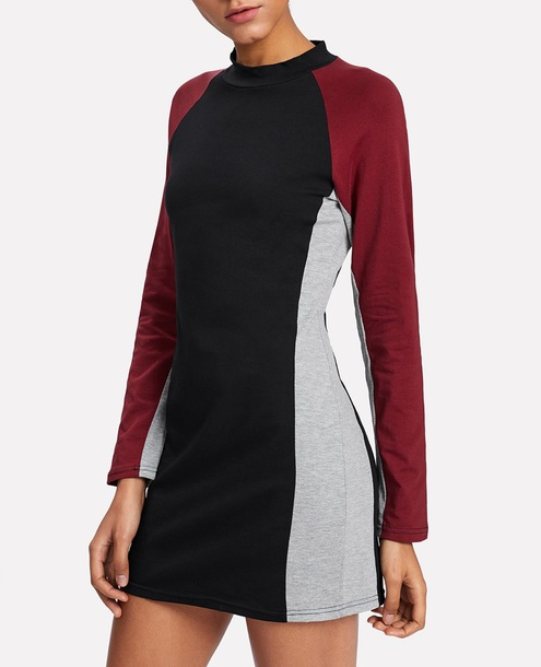 dress burgundy girly long sleeves long sleeve dress black grey mini dress mini