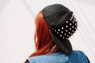 hat snapback cap red spikes fashion hip hop