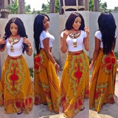 skirt,long skirt,aztec,orange,red,colorful,high waisted,jewels,bohemian maxi skirt,bohemian shirt,top,nice,classy,cute,maxi dress,african american,african print,gold necklace,white crop tops,shirt,maxi skirt,dress,t-shirt,white,hair,weave,blouse,orange skirt,tribal pattern,long maxi skirt,middle east,maxi,body chain,golden brown,green skirt,black girls killin it,dashiki,print,yellow,dashiki print,yellow skirt