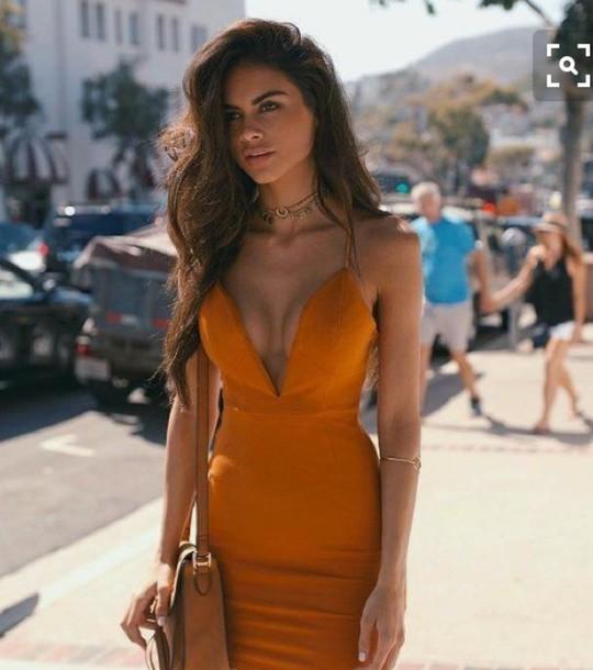 Dress Bodycon Dress Yellow Dress Plunge V Neck Bodycon
