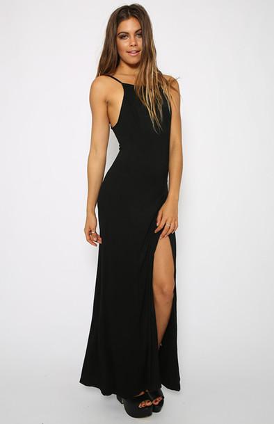 64417e108db black black dress maxi dress side boob beautiful dress halter dress halter  neck bodycon long dress