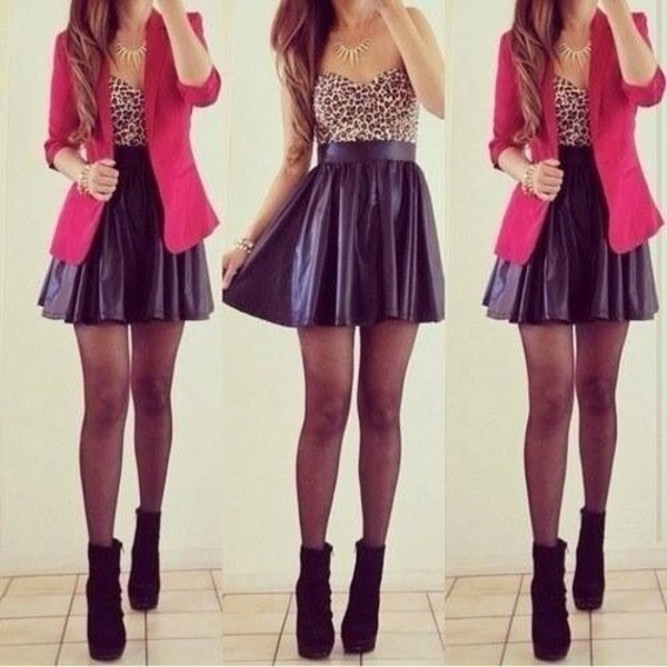 jacket tank top skirt shoes