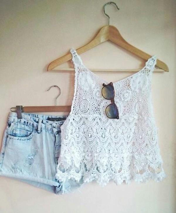 top lace top shorts sunglasses blouse style fashion white crop tops denim shorts elated tiered lace white top