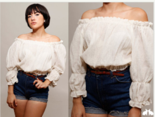 how to cut an 80s off the shoulder shirt