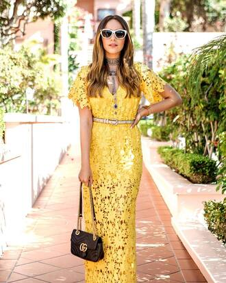 dress tumblr maxi dress long dress lace dress yellow yellow dress bag black bag chain bag gucci gucci bag sunglasses white sunglasses necklace statement necklace silver necklace jewels jewelry silver jewelry