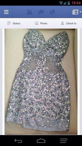 dress glitter dress silver dress