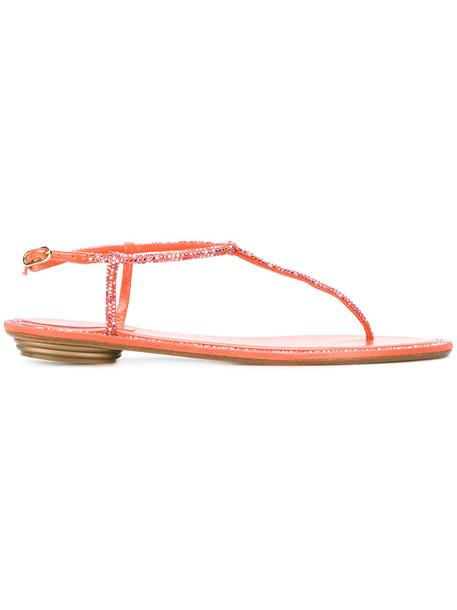 René Caovilla embellished sandals women embellished sandals leather yellow orange shoes