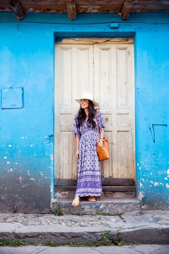 bag tumblr bag bucket bag maxi dress hat sandals printed maxi dress blogger blogger style