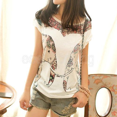 European Elephant Print Cotton Short Sleeve Casual Basic T Shirt Blouse Tee S | eBay