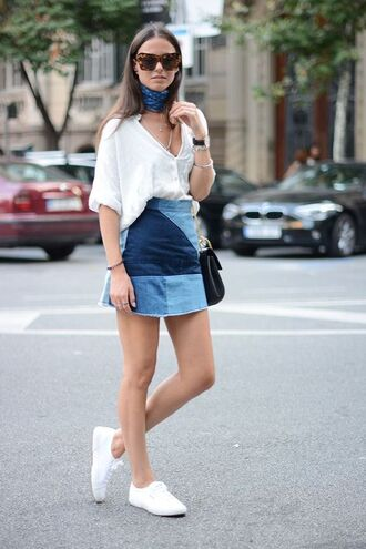 skirt patched denim denim denim skirt shirt white shirt sneakers bandana bag black bag white sneakers fashion vibe blogger jewels bandana print scarf choker necklace accessories accessory trendy