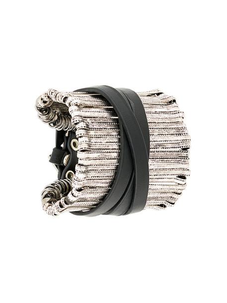 FEDERICA TOSI cuff women cuff bracelet leather black jewels