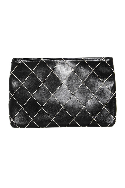 Chanel black surpique quilted stitched clutch