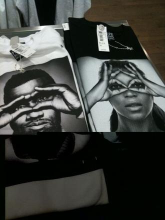t-shirt black white earphones beyonce kanye west
