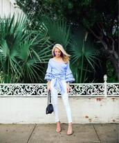 krystal schlegel,blogger,blouse,shoes,jeans,jewels,bag,top,blue top,light blue,wrap top,puffed sleeves,ruffled top,ruffle,black bag,white jeans,earrings,sandals,sandal heels,high heel sandals,nude sandals