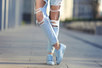 jeans ripped blue denim fashion style grunge pants