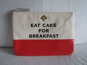 Kate Spade Call to Action Eat Cake for Breakfast GIA Large Cosmetic Pouch | eBay