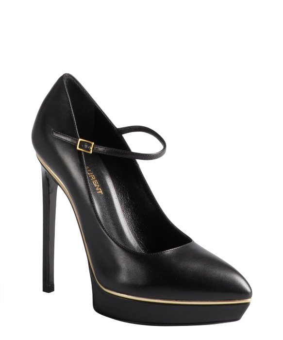 Saint Laurent black and gold leather pointed toe platform mary jane pumps | BLUEFLY up to 70% off designer brands