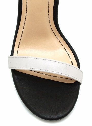 GJ | Strappy Single Sole Heels $21.20 in BLACKGOLD BLACKWHITE - Ankle Straps | GoJane.com