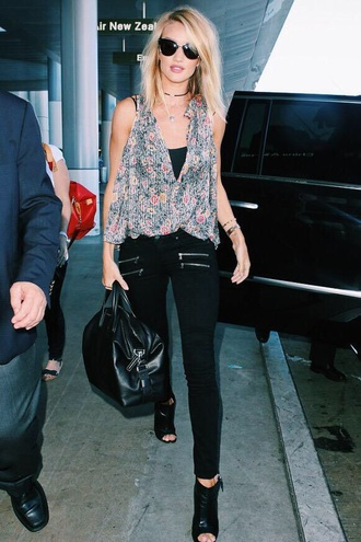 top rosie huntington-whiteley floral cut out top