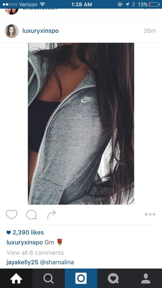 jacket nike cool pretty fitness love tumblr grey running workout sweater grey sweat nike jacket grey sweater instagram workout top grey jacket sporty nike sweater crop tops bandeau shirt cute fall outfits fall sweater