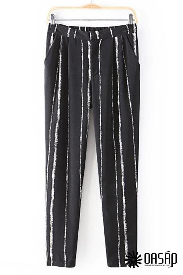Loose Chalk Striped Black Pants - OASAP.com