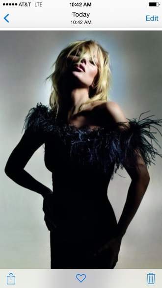 kate moss model feathers dress