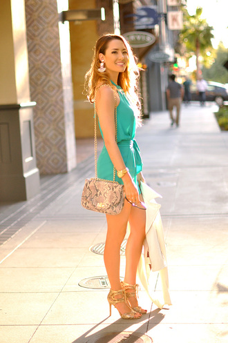 hapa time blogger romper bag snake skin shoulder bag turquoise gold shoes party outfits