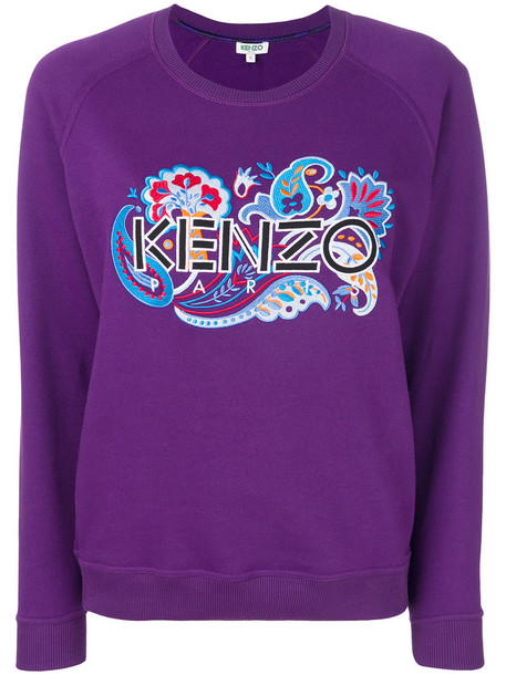 Kenzo sweatshirt embroidered women cotton purple pink paisley sweater