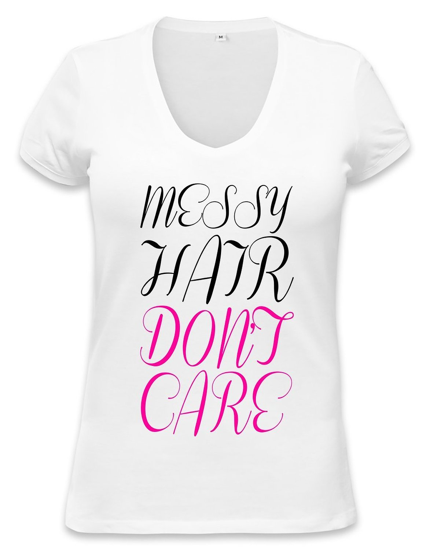 Amazon.com: messy hair don't care slogan womens v