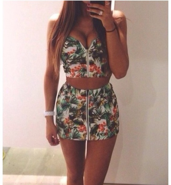 Skirt Floral Zip Tank Top Floral Tank Top Floral Skirt Party Tropical Tropical Colorful ...
