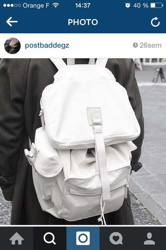 bag white bag backpack style cool